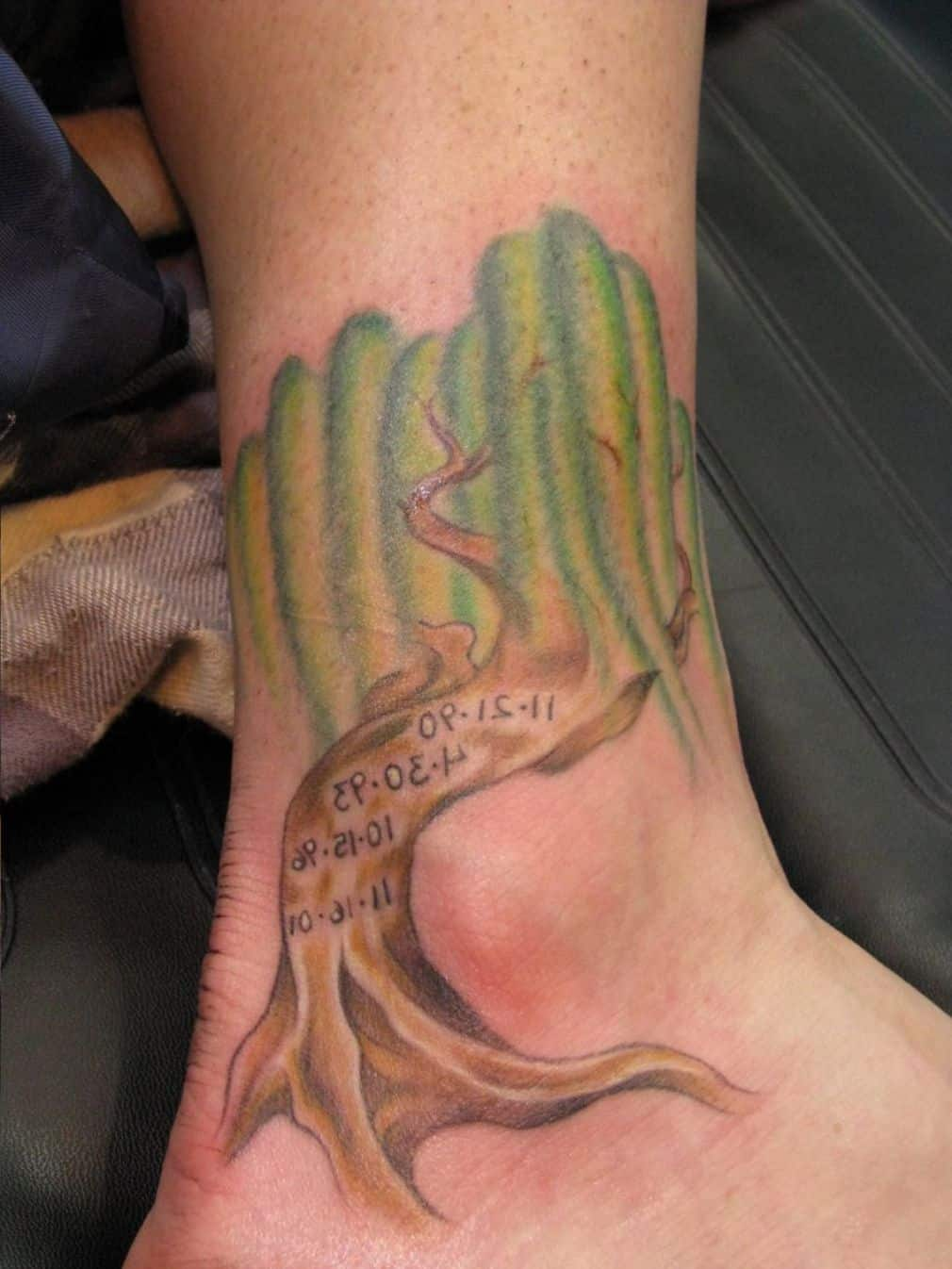 Weeping Willow Tree Ankle Tattoo Design