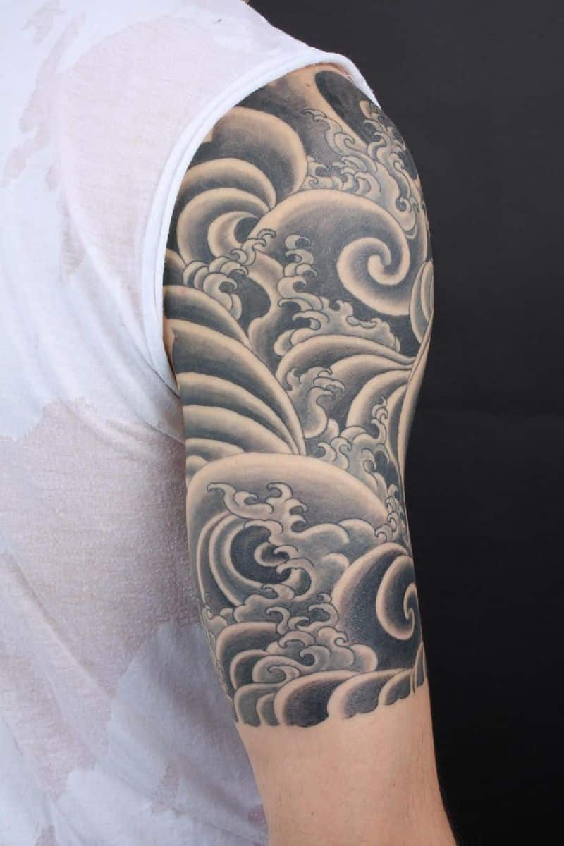 Black And Grey Clouds Tattoo On Right Half Sleeve