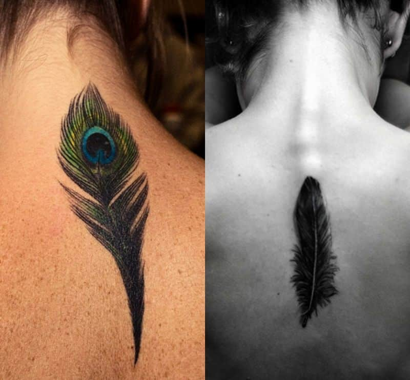Feather Tattoo Designs On Upper Back