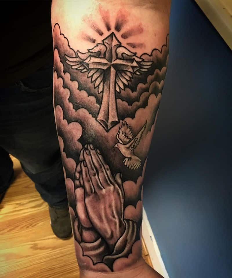 Flying Dove With Clouds Tattoo On Forearm