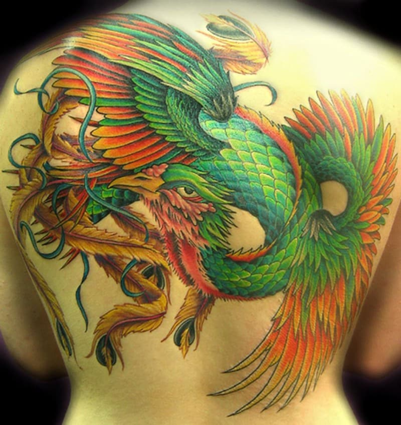 Green Phoenix Tattoo On Whole Back