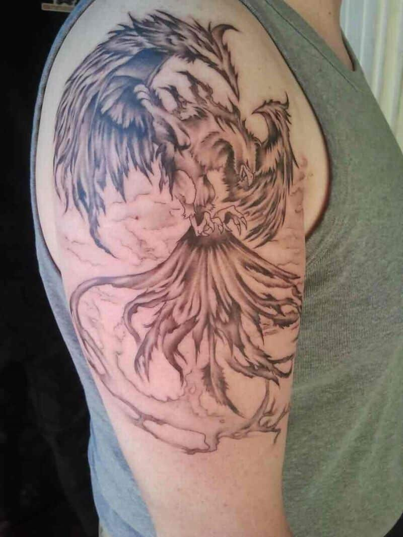 Grey Flying Phoenix Tattoo On Right Arm