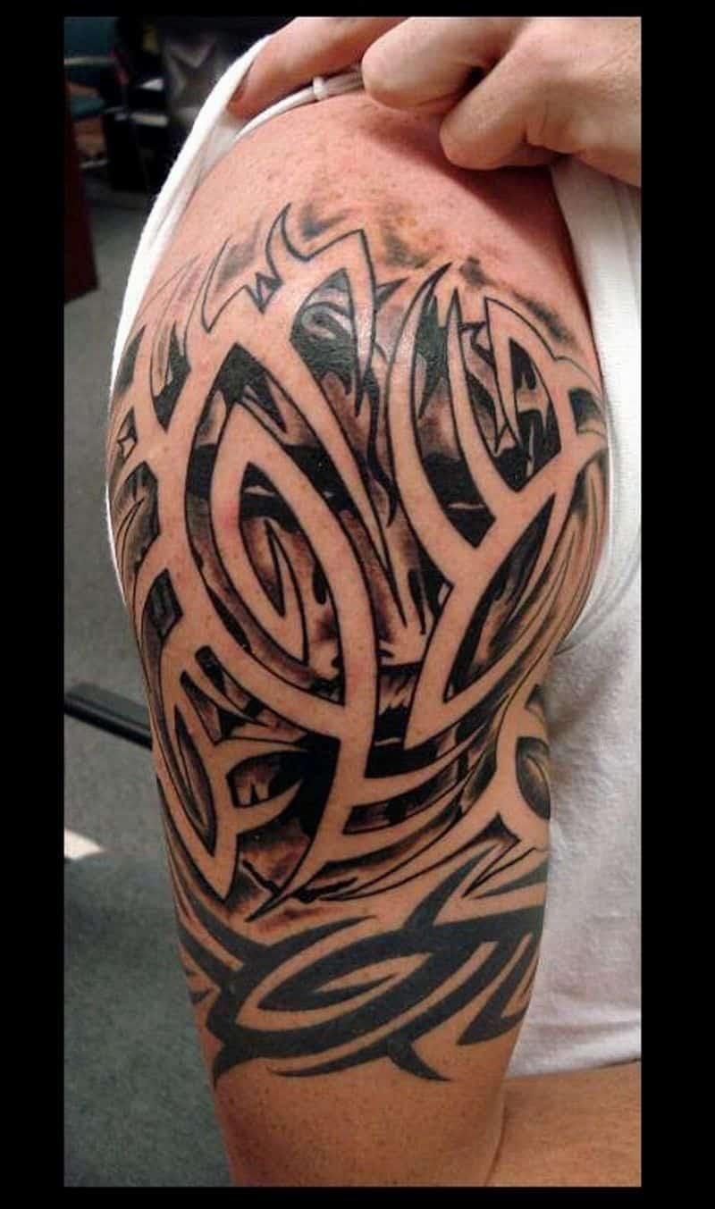 Men Tribal Sleeve Tattoos