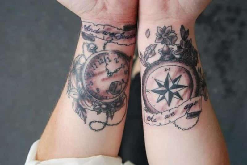 Steampunk Clock Compass Wrist Tattoo