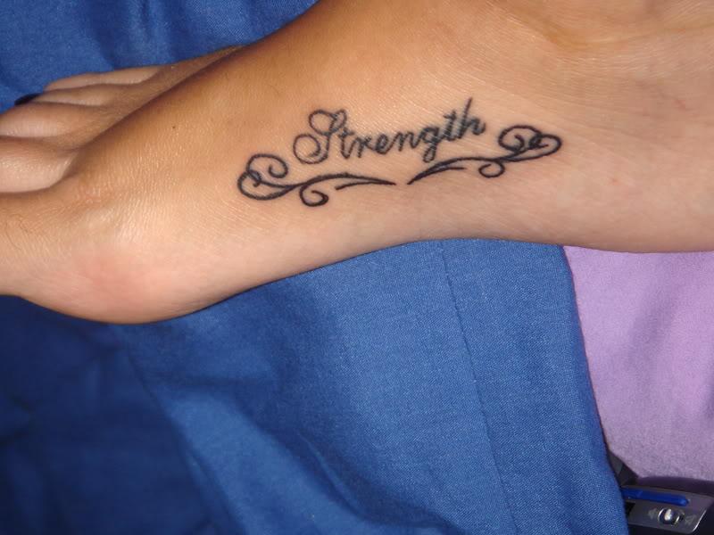 Strength Tattoos On Left Foot