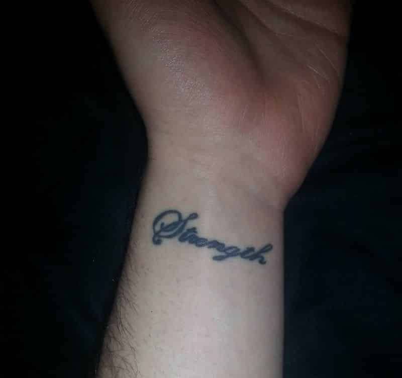 Strength Word Tattoo On Wrist
