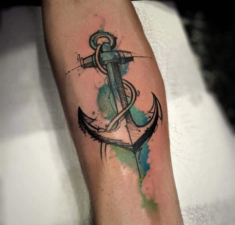Watercolor Anchor Tattoo On Forearm