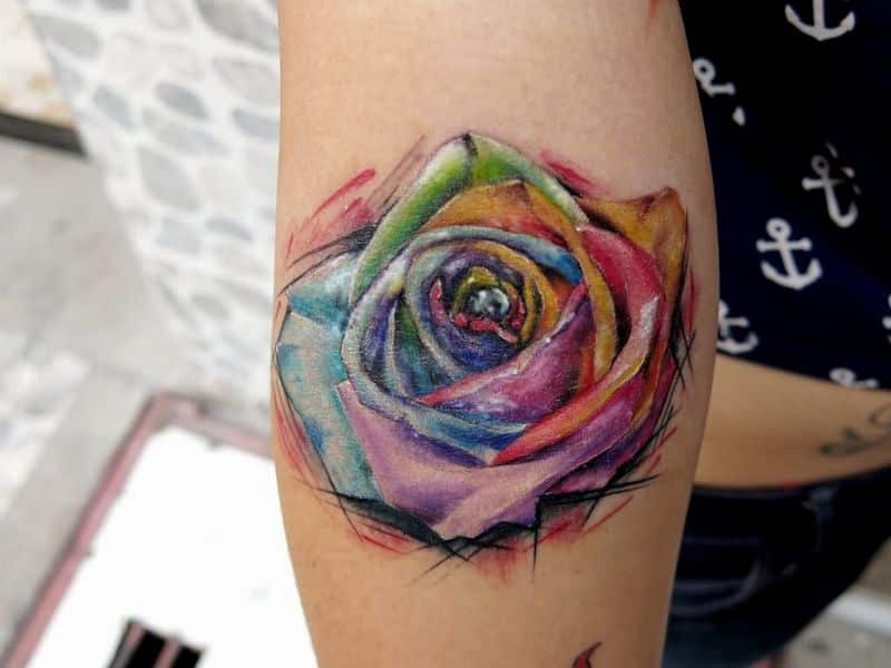 Watercolor Rose Tattoo On Forearm
