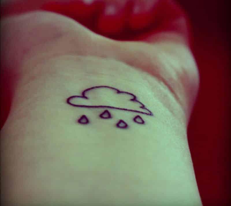 Cloud And Rain Drops Wrist Tattoo