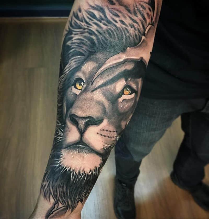 king Lion Forearm Tattoos