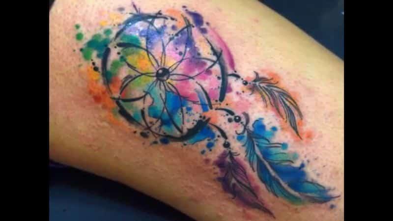 Leaf Watercolor Tattoo