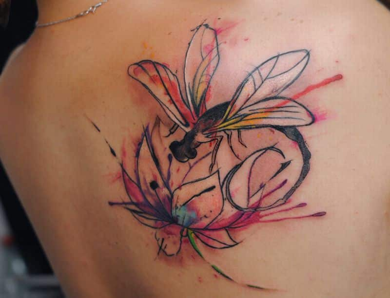 Lotus Watercolor Tattoo