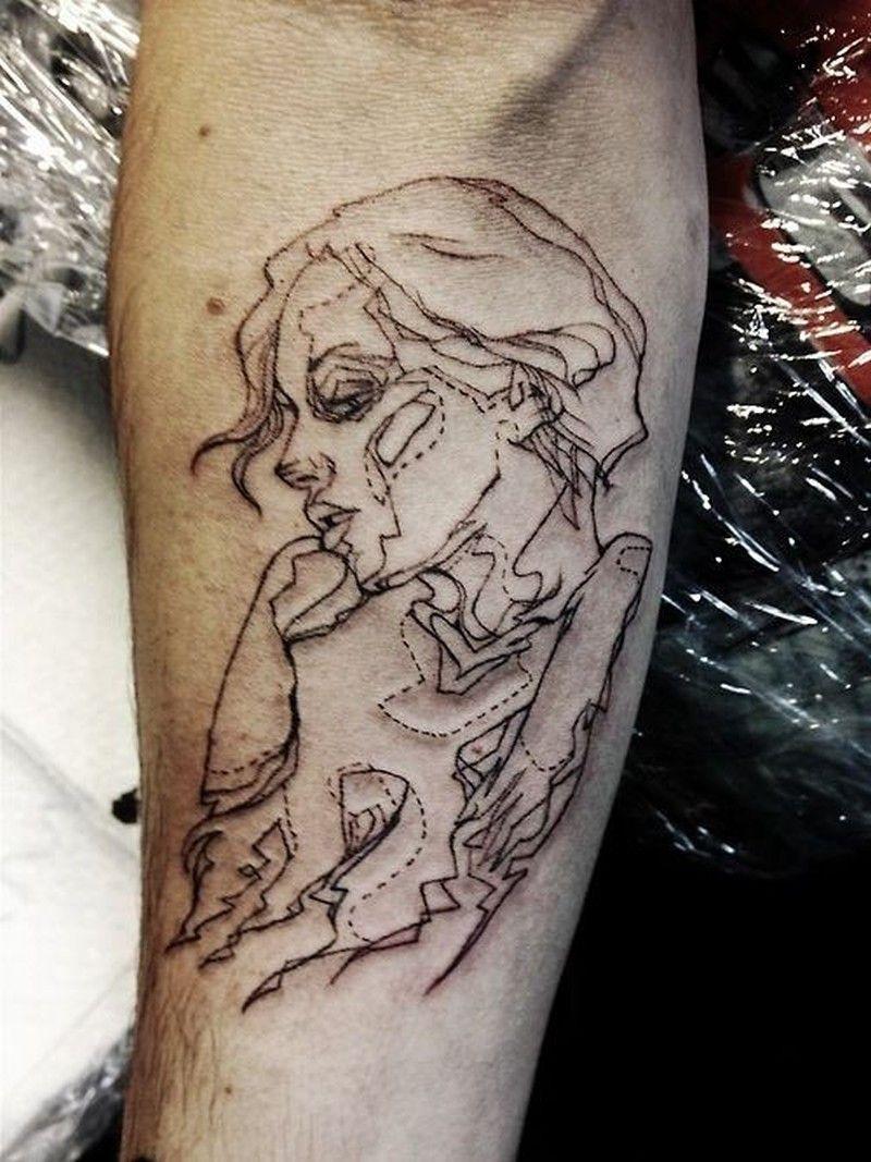Nice Black Lines Portrait Of Girl Forearm Tattoo