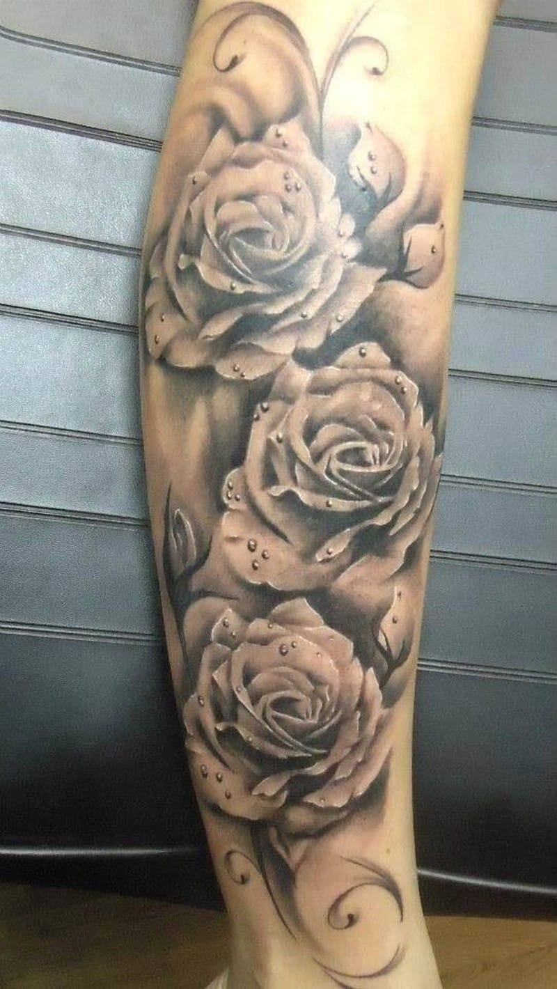 Realistic Roses With Dew Drops Forearm Tattoo
