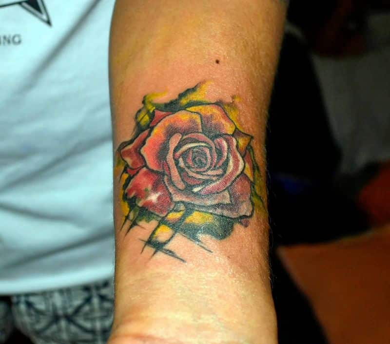 Red Rose Watercolor Tattoo On Wrist