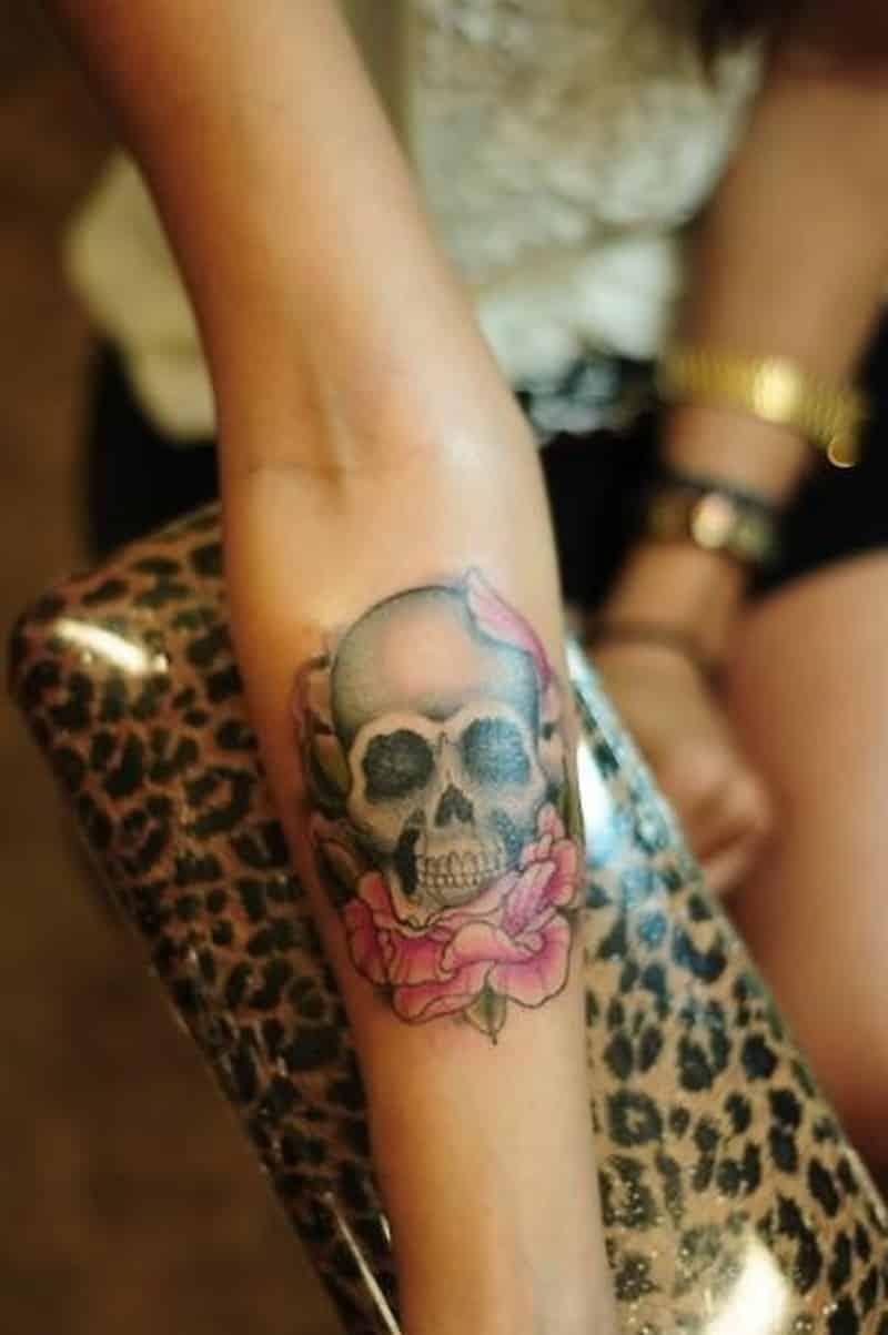 Skull With Rose Forearm Tattoo Design For Women