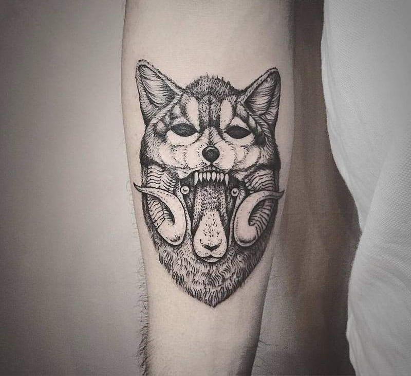 Wolf Sheep Line Art Tattoo