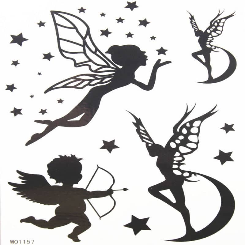 black ink fairies and baby angel tattoos designs