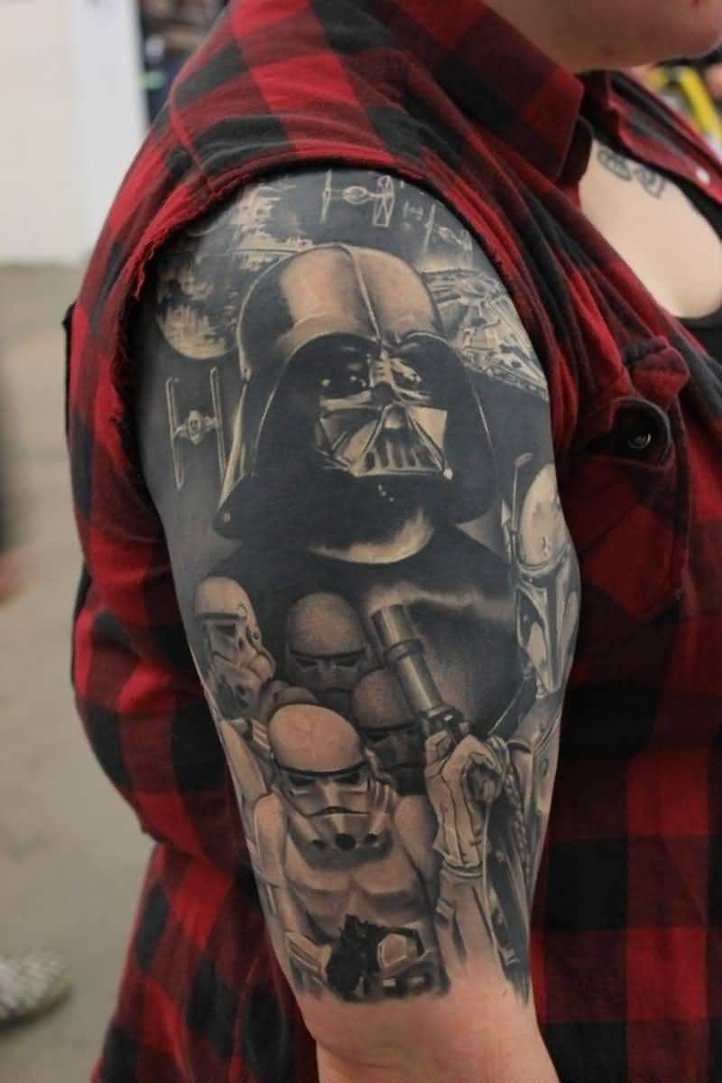 Darth Vader Tattoo On Right Half Sleeve
