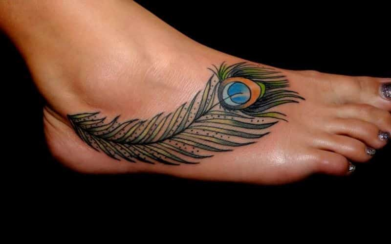 Lovely Ankle Tattoo Peacock Feather