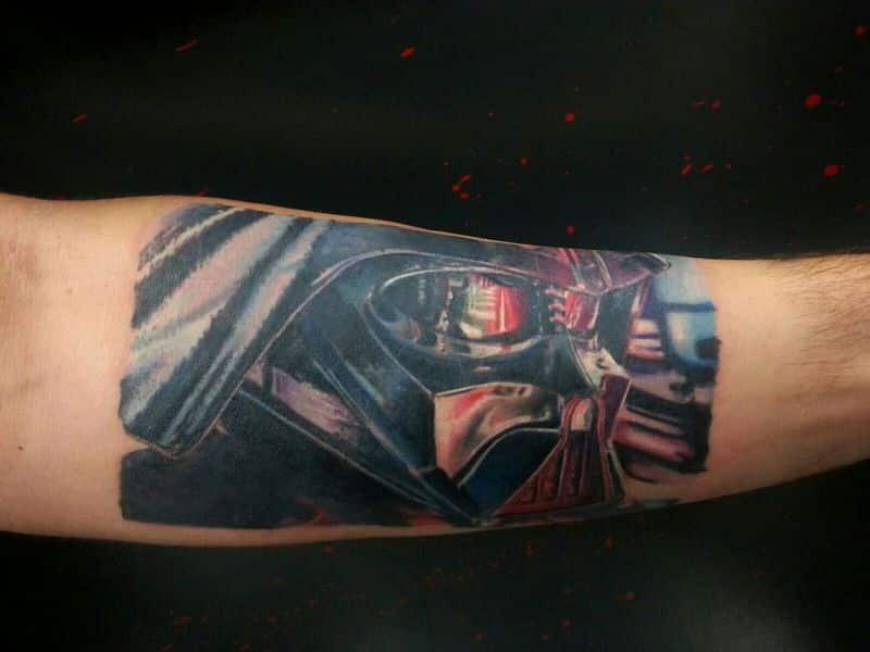 Nice Darth Vader Tattoo On Left Forearm