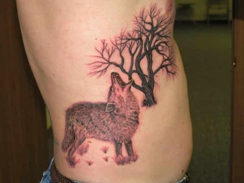 Rib Tattoo For Men Wolf