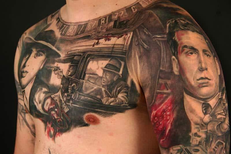 Men Chest Gangsta Faces Tattoo
