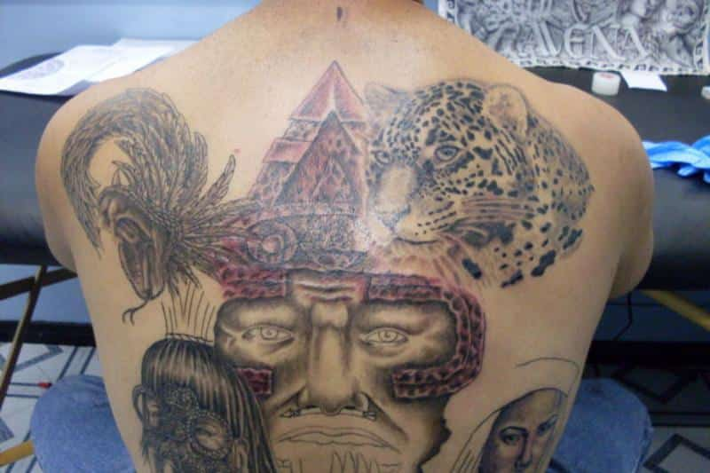 Most beautiful aztec back piece tattoos for men