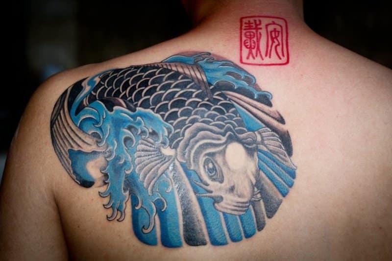 Orange And Blue Fish Pisces Tattoo Design