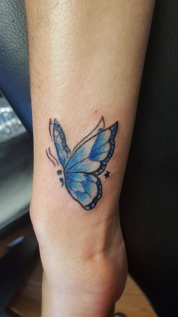 Semicolon butterfly tattos