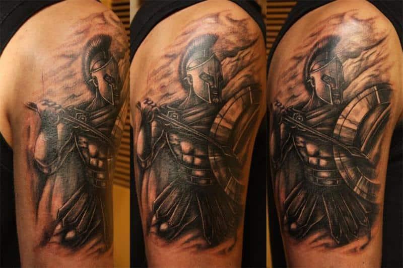 Spartan Warrior Fight Tattoo On Back Shoulder