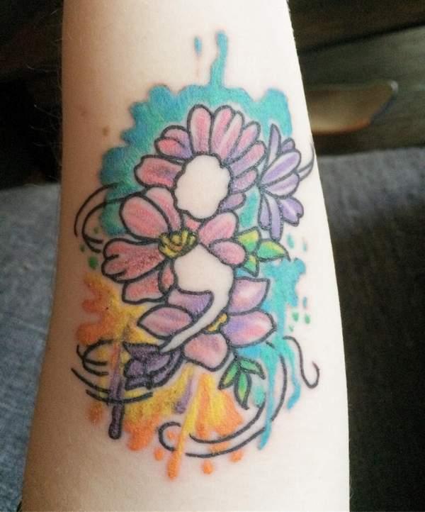Watercolor Semicolon Flower Tattoo