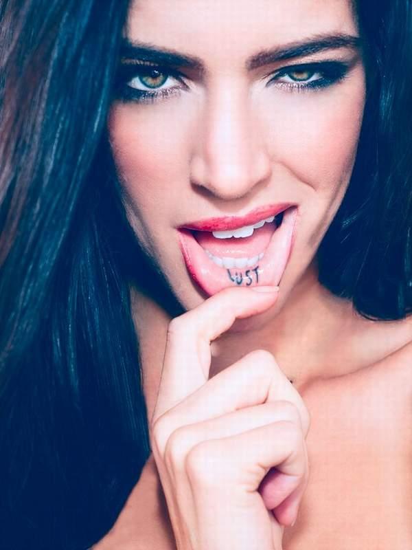funny inner lip tattoo idea