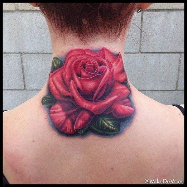 Amazing Rose Tattoo Design On Neck