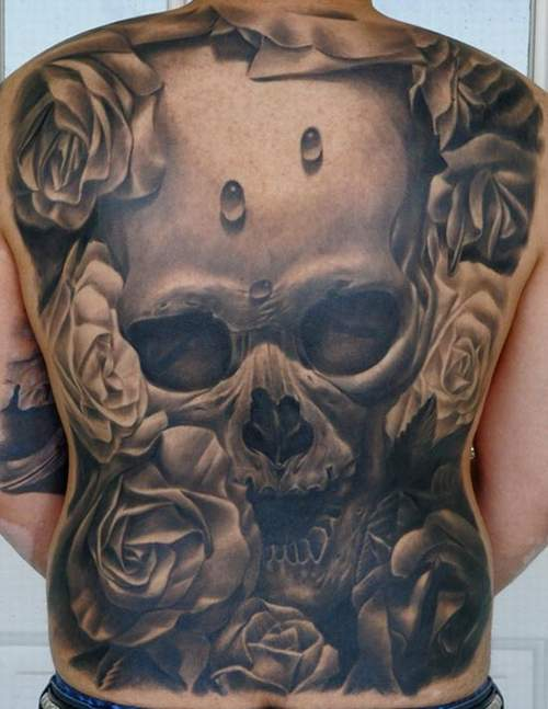 Full Back Skull Tattoo