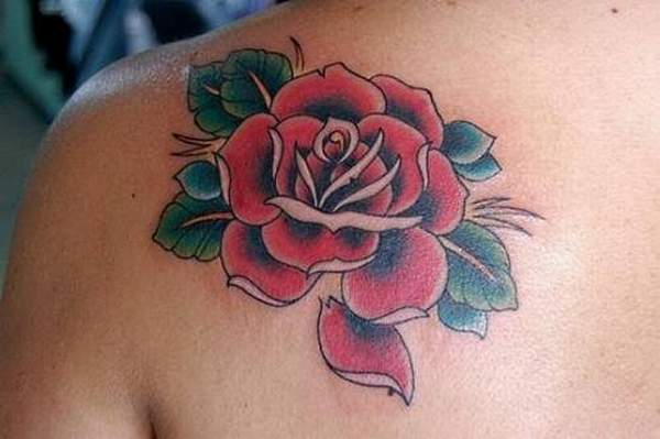 Red Rose Tattoo Design on Back