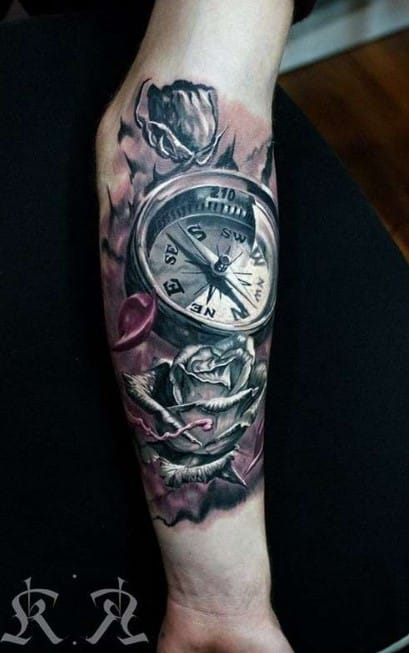3D Compass Forearm Tattoo