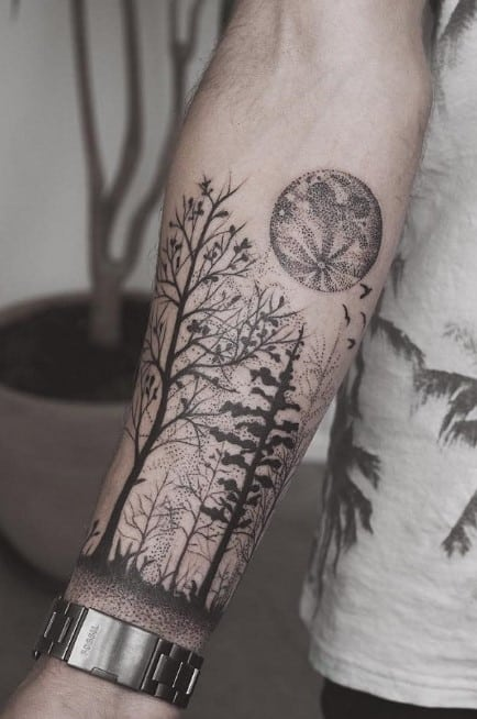 Forest and the Full Moon Tattoo