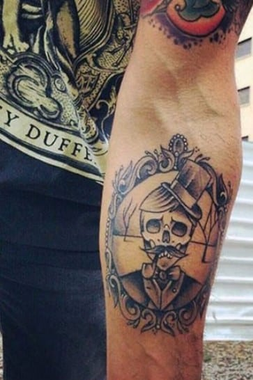 Hat and Pipe Skull Tattoo