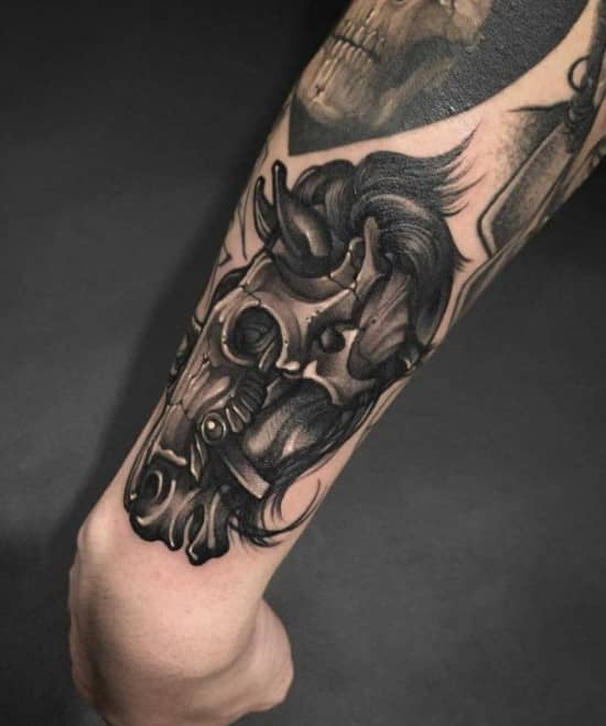 Horse Head Outer Forearm Tattoos For Men