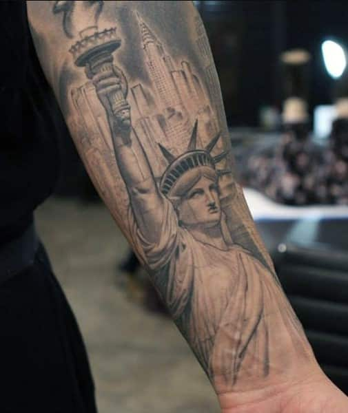 Statue of Liberty Inner Forearm Tattoo