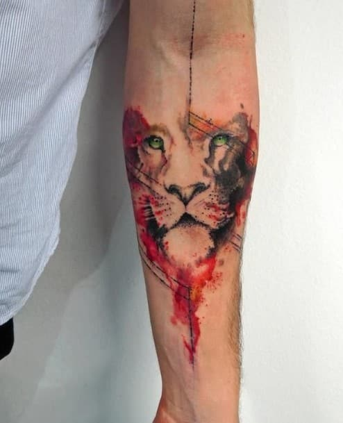 Watercolor Lion Face Tattoo